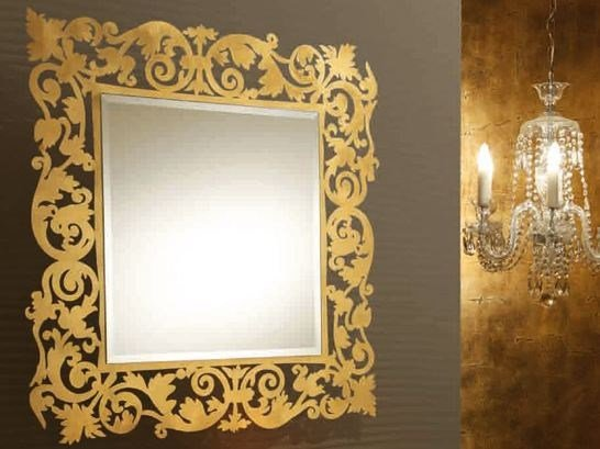 Wall-mounted framed mirror ROMANTICO | Square mirror by RIFLESSI