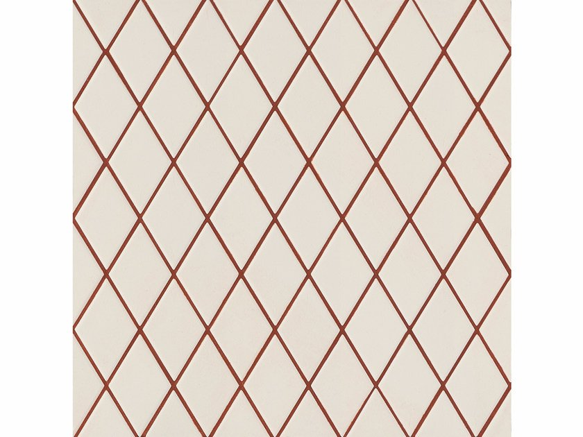 Porcelain stoneware wall/floor tiles ROMBINI LOSANGE WHITE RED by MUTINA