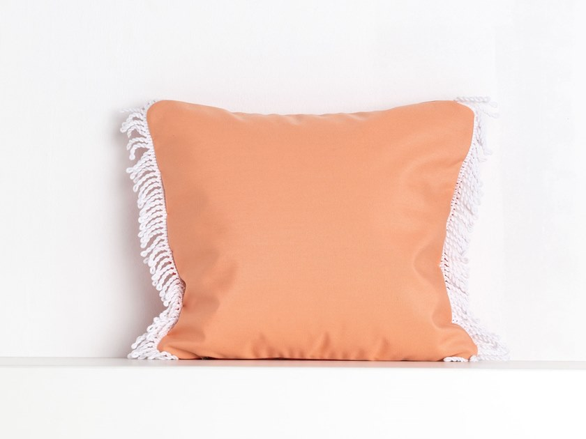 Square outdoor acrylic cushion ROMY CORAIL | Square cushion by Maison Madeleine