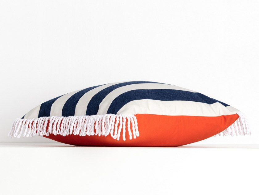 Striped square outdoor acrylic cushion ROMY ORANGE & RAYE JEANS | Square cushion by Maison Madeleine