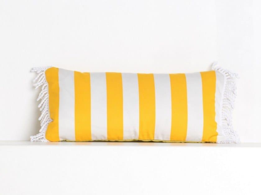 Striped rectangular outdoor acrylic cushion ROMY RAYE JAUNE OR | Rectangular cushion by Maison Madeleine