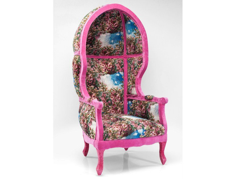 High-back fabric armchair with armrests ROOF KITSCH ART by KARE-DESIGN