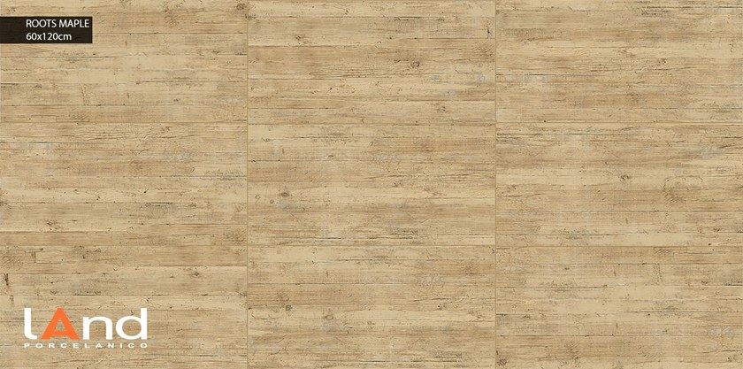 Technical porcelain flooring with wood effect ROOTS MAPLE by Land Porcelanico