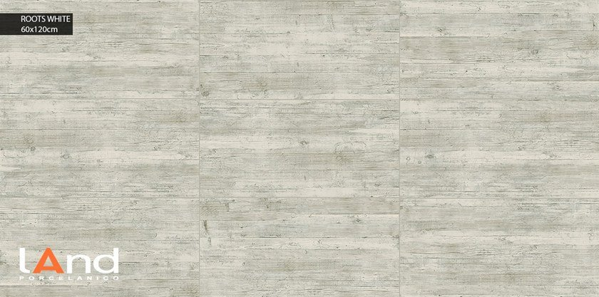 Technical porcelain flooring with wood effect ROOTS WHITE by Land Porcelanico