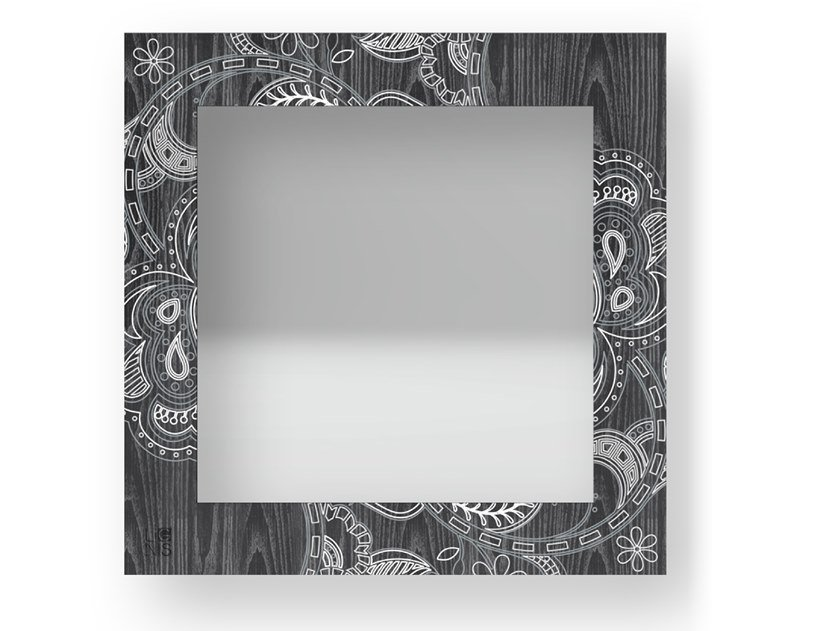 Square wall-mounted framed mirror ROSE COLD | Mirror by LIGNIS®