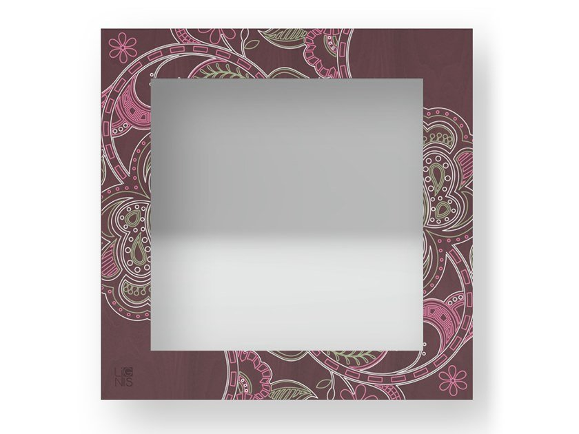 Square wall-mounted framed mirror ROSE COLORS | Mirror by LIGNIS®