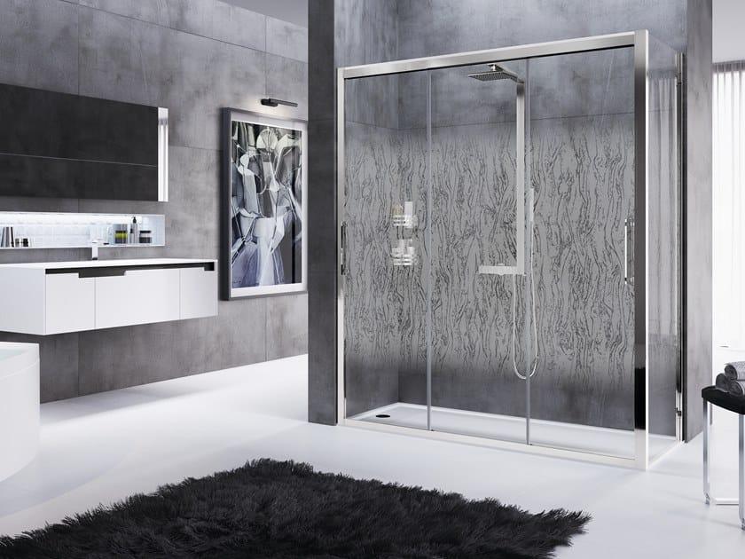 Corner shower cabin with sliding door ROSE ROSSE 3P+F by NOVELLINI