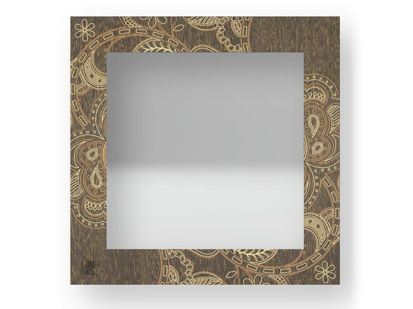 Square wall-mounted framed mirror ROSE WARM | Mirror by LIGNIS®