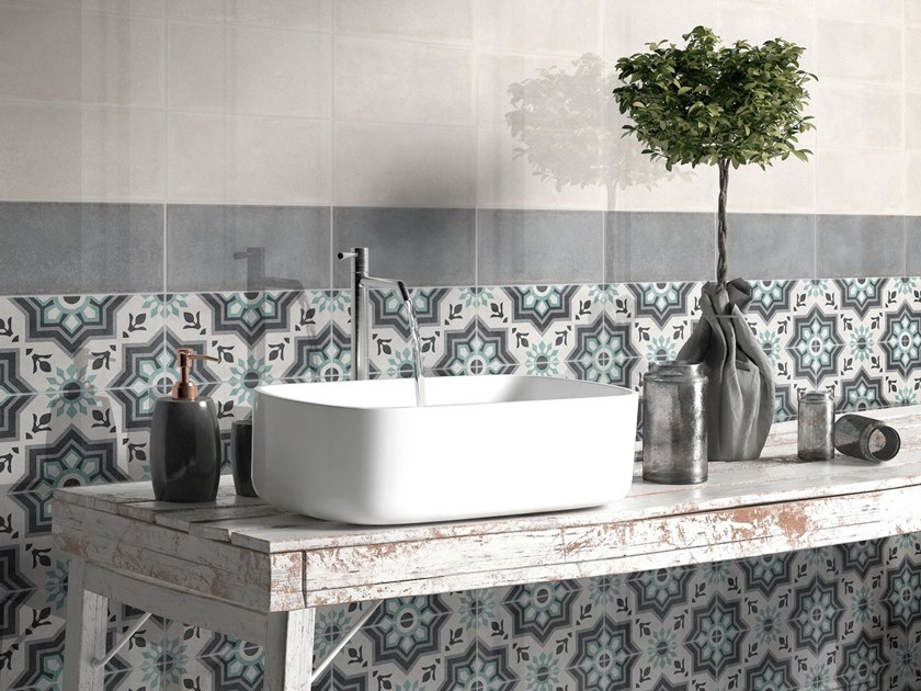 White-paste wall tiles with encaustic effect ROSEMARY by ITT Ceramic