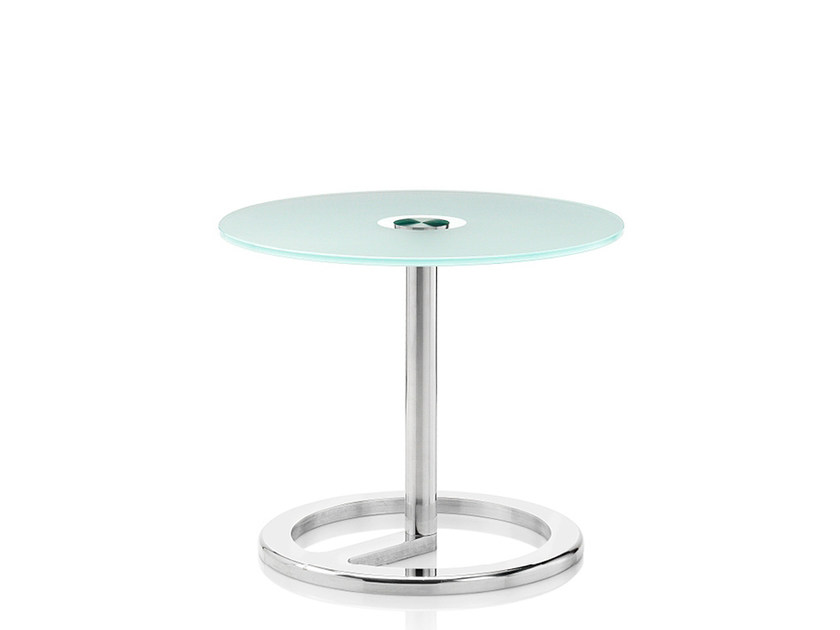 Round glass coffee table ROTA | Sandblasted glass coffee table by Boss Design