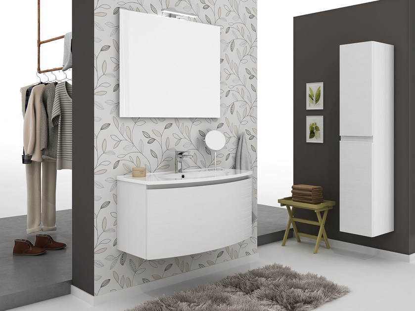 Wall-mounted vanity unit with drawers ROUND 01 by LEGNOBAGNO