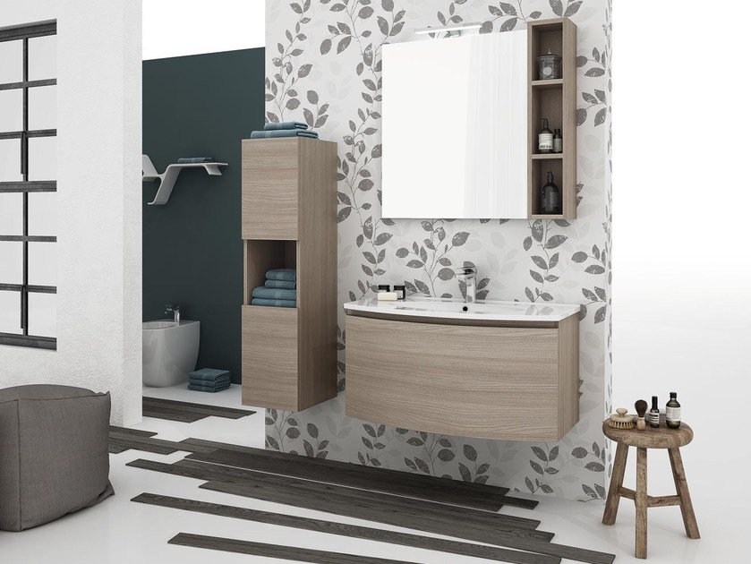 Wall-mounted vanity unit with drawers ROUND 02 by LEGNOBAGNO
