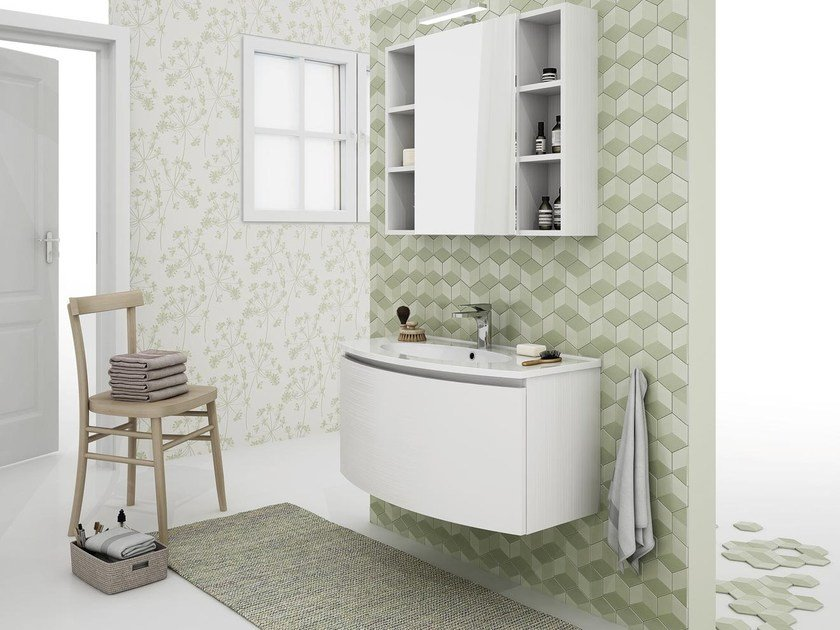 Wall-mounted vanity unit with drawers ROUND 03 by LEGNOBAGNO
