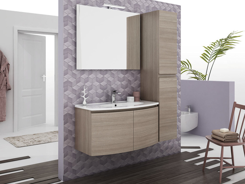 Wall-mounted vanity unit with doors ROUND 04 by LEGNOBAGNO