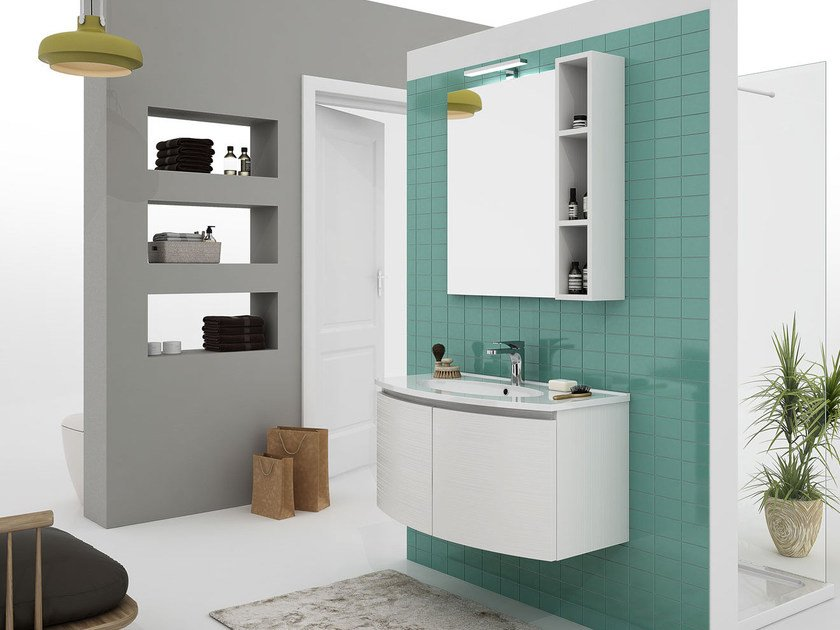 Wall-mounted vanity unit with doors ROUND 05 by LEGNOBAGNO