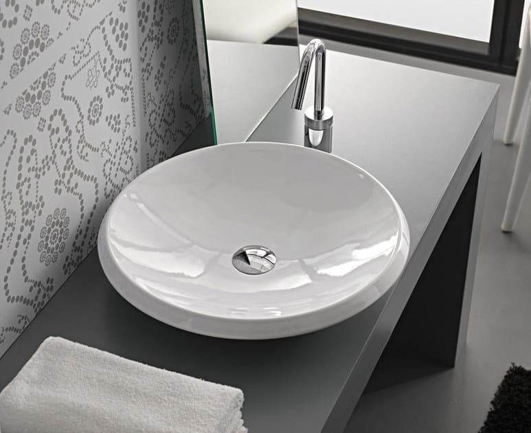 Countertop round ceramic washbasin ROUND by Hidra Ceramica