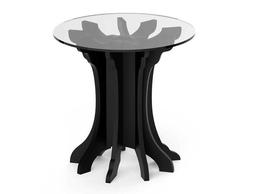 Round birch high side table TALE | Round coffee table by ALBEDO