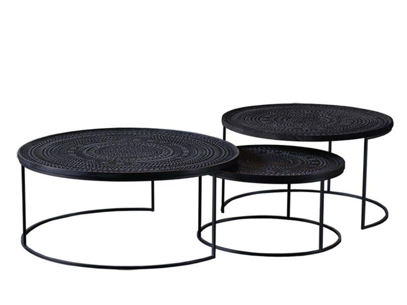 Round teak coffee table ANCESTORS TABWA   Round coffee table by Ethnicraft