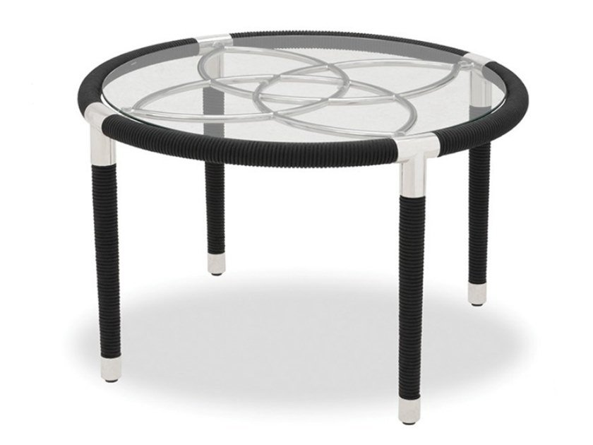 Round stainless steel garden side table DAVOS | Round coffee table by Indian Ocean