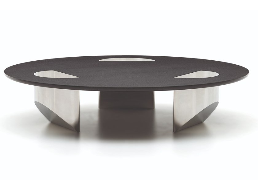 Low round glass coffee table WEDGE | Round coffee table by Minotti