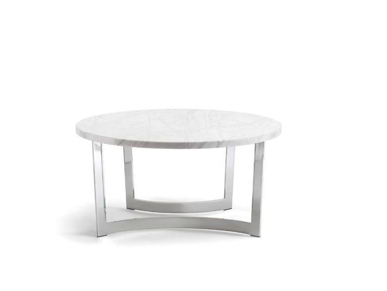 Tirolo Sedie Manzano.Tavolino Rotondo In Metallo E Marmo Di Carrara Hugo