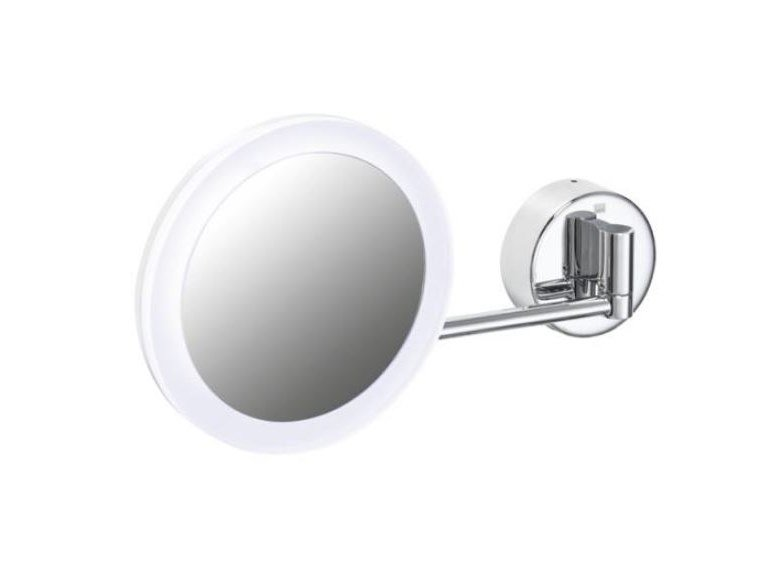 Double-sided round shaving mirror with integrated lighting Round shaving mirror by HEWI