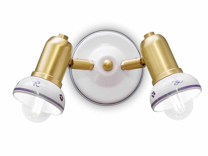 Wall-mounted adjustable round ceramic spotlight SAVONA | Round spotlight by FERROLUCE