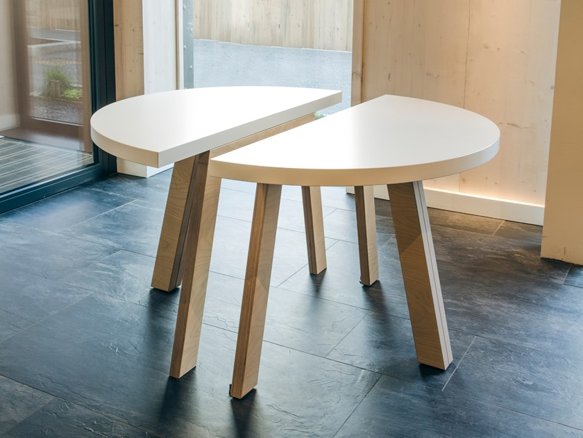Melamine-faced chipboard table MODULE   Round table by Manganèse Éditions