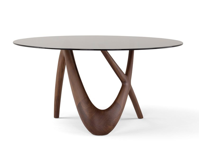 Round Wood And Glass Table Nx Round Table Nx Collection By Amura Design Stefano Bigi