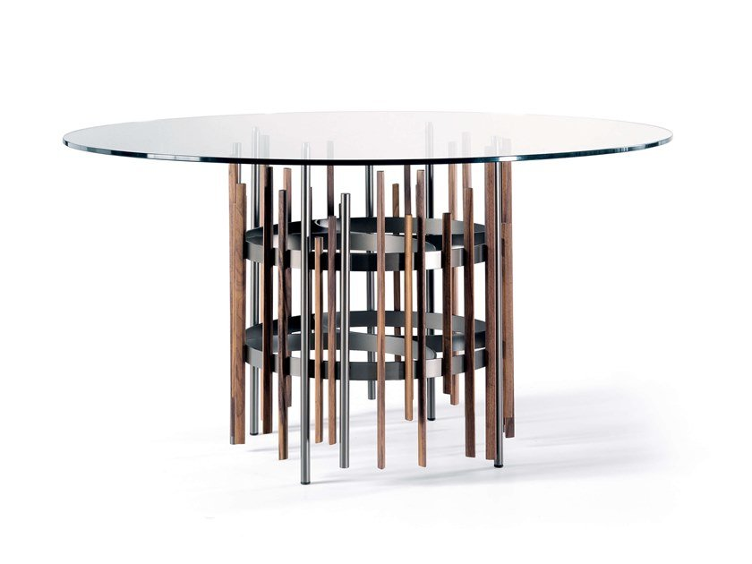 Round wood and glass dining table TUBE | Round table by Pacini & Cappellini
