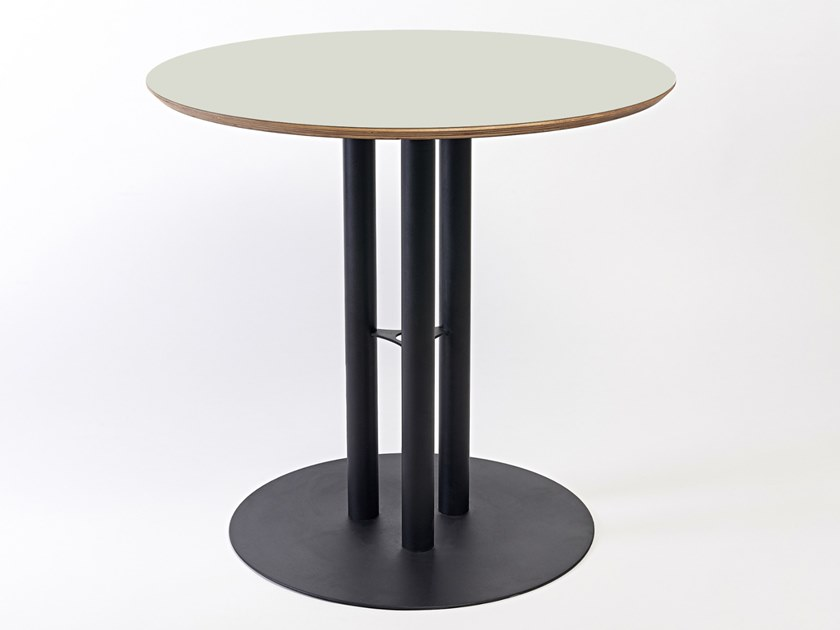 Lacquered round steel and wood table CHAILLOT | Round table by Specimen Editions