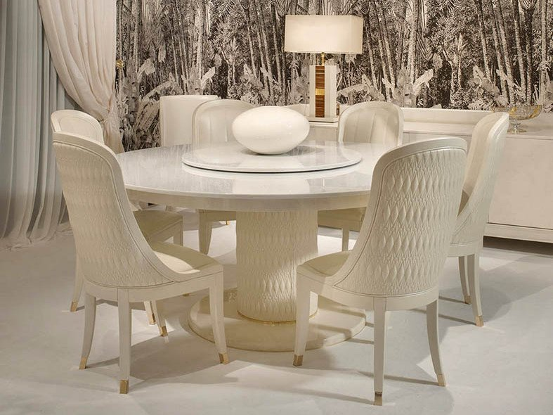 Lacquered round table with Lazy Susan NUMERO TRE | Round table by Turri
