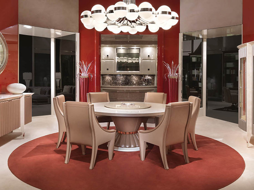 Lacquered round table with Lazy Susan ORION | Round table by Turri