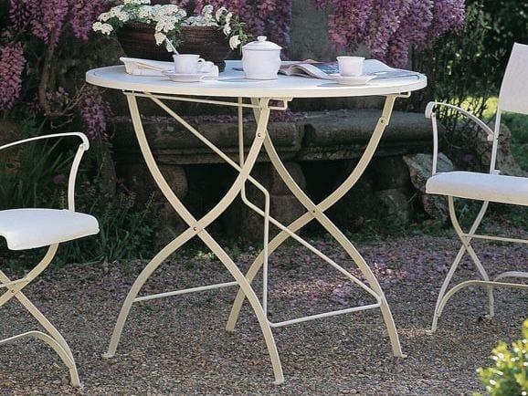 Folding iron garden table MINERVA   Round table by Unopiù
