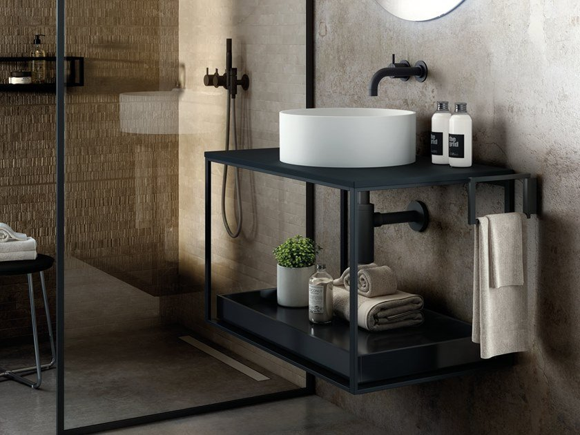Wall-mounted vanity unit THE GRID EVO | Round washbasin by Cosmic