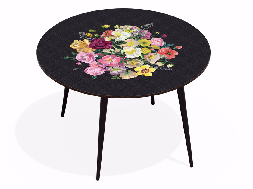 Round beech wood and HPL dining table ROYAL BOUQUET NOIR by Bazartherapy