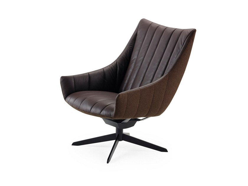 Leather armchair with 4-spoke base with armrests RUBIE | Armchair with 4-spoke base by Freifrau