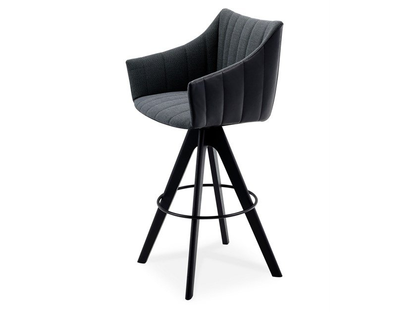 High fabric stool with armrests RUBIE BAR ARMCHAIR HIGH by Freifrau