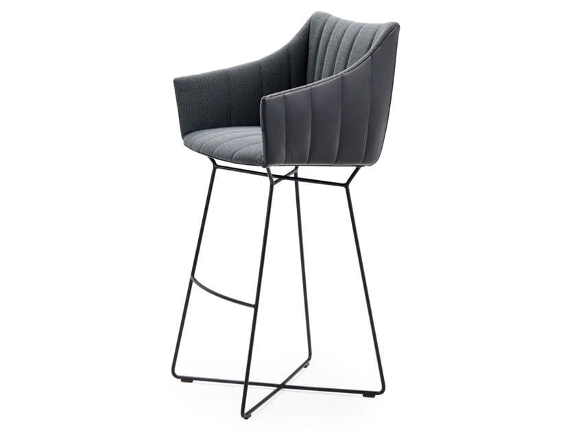 High fabric stool with footrest RUBIE BAR ARMCHAIR HIGH by Freifrau