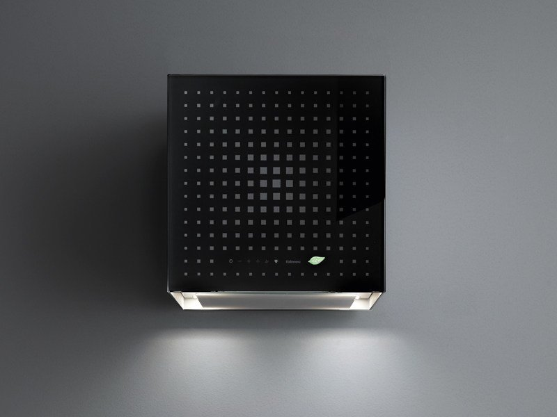 Glass cooker hood with bipolar controlled ionization RUBIK E.ION by Falmec