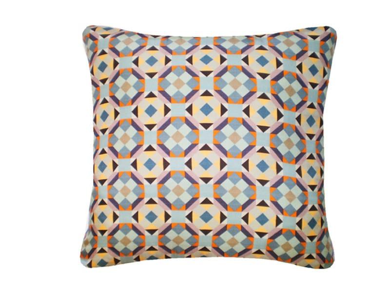 Square silk cushion RUBIK PRINTED SILK WARM TEAL by Nitin Goyal London