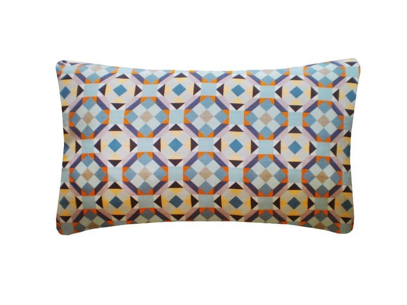 Rectangular silk cushion RUBIK PRINTED SILK WARM TEAL by Nitin Goyal London