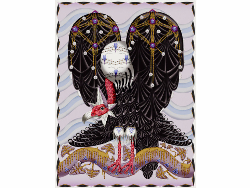Patterned rectangular rug VULTURE by moooi