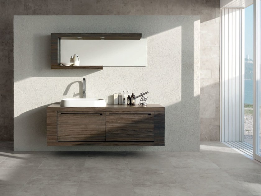 Single zebrano vanity unit RUSH - COMPOSITION 14 by Arcom
