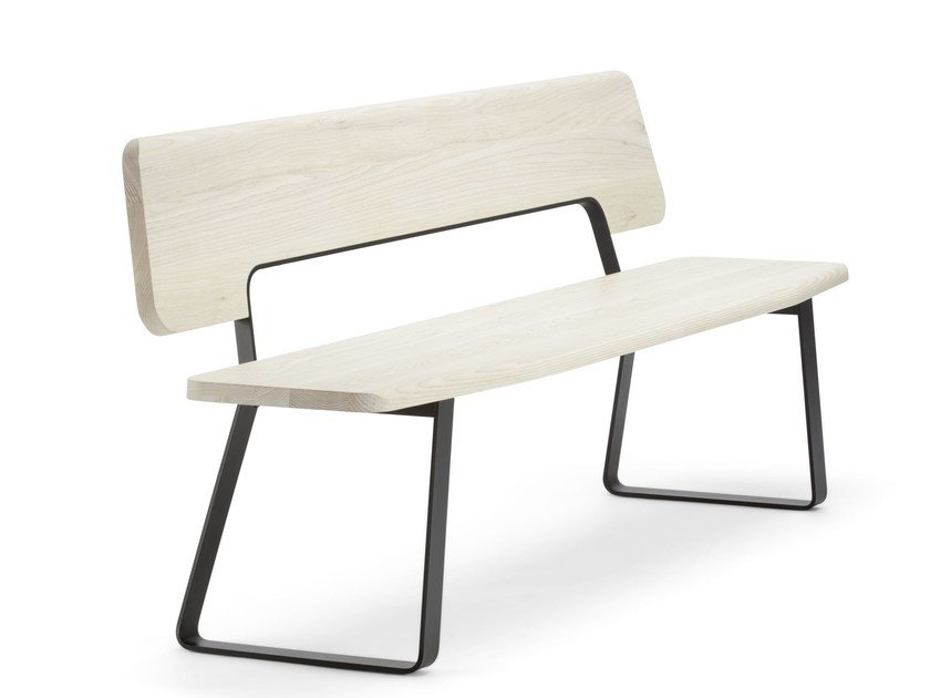 Wooden bench with back S 1095 by THONET