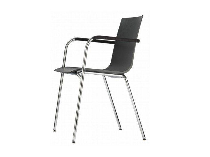 Stackable plastic chair with armrests S 160 F by THONET