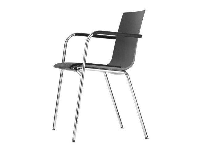 Stackable plastic chair with armrests S 160 SPF by Thonet