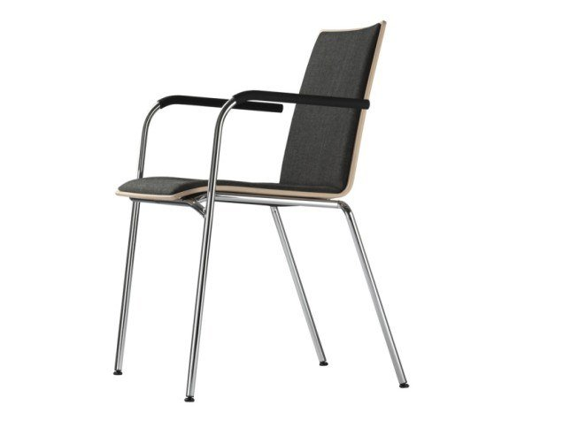 Upholstered stackable chair with armrests S 162 PF by THONET