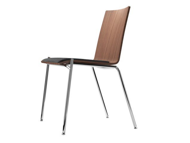 Stackable plywood chair with integrated cushion S 162 SP by THONET