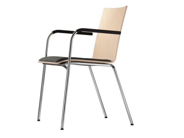 Stackable plywood chair with armrests S 162 SPF by THONET